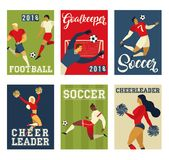 Football soccer players cheerleaders fans on soccer field  illustration. Football soccer players cheerleaders fans on soccer field  illustration Royalty Free Stock Photos