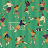 Football soccer players cheerleaders fans set of  human figures with merch marks of favourite team Seamless pattern illust. Ration Royalty Free Stock Image