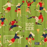 Football soccer players cheerleaders. Football soccer players cheerleaders fans set of isolated human figures with merch marks of favourite team. Vintage design Stock Photos