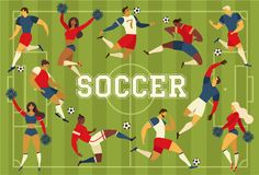 Football soccer players cheerleaders fans on soccer field vector illustration. Football soccer players cheerleaders fans on soccer field vector illustration Royalty Free Stock Images
