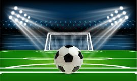Football or soccer playing field with ball. Sport Game. Football stadium spotlight and scoreboard background with. Glitter light vector illustration Royalty Free Stock Image