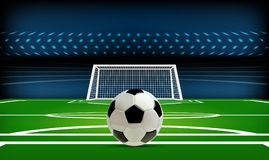 Football or soccer playing field with ball. Sport Game. Football stadium spotlight and scoreboard background with. Glitter light vector illustration Royalty Free Stock Photo