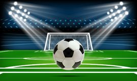 Football or soccer playing field with ball. Sport Game. Football stadium spotlight and scoreboard background with. Glitter light vector illustration Stock Images