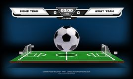Football or soccer playing field with infographic elements and 3d ball. Sport Game. Football stadium spotlight and. Scoreboard background vector illustration Stock Photos
