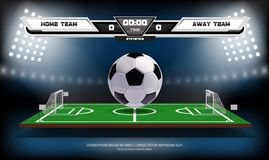Football or soccer playing field with infographic elements and 3d ball. Sport Game. Football stadium spotlight and. Scoreboard background vector illustration Royalty Free Stock Photography