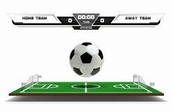 Football or soccer playing field with infographic elements and 3d ball. Sport Game. Football stadium scoreboard on white. Background vector illustration Royalty Free Stock Photos