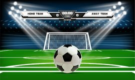 Football or soccer playing field with infographic elements and 3d ball. Sport Game. Football stadium spotlight and. Scoreboard background vector illustration Royalty Free Stock Image