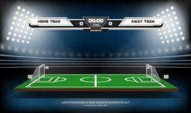 Football or soccer playing field with infographic elements. Sport Game. Football stadium spotlight and scoreboard. Background vector illustration Royalty Free Stock Photography