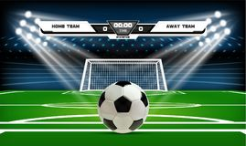 Football or soccer playing field with set of infographic elements and ball. Sport Game. Football stadium spotlight and. Scoreboard background with glitter light Royalty Free Stock Images