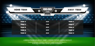 Football or soccer playing field with set of infographic elements. Sport Game. Football stadium spotlight and scoreboard. Background with glitter light vector Royalty Free Stock Photo