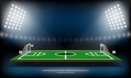 Football or soccer playing field. Sport Game. Football 3d stadium spotlight background vector illustration.  Stock Photos
