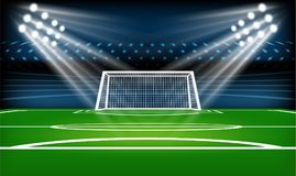 Football or soccer playing field. Sport Game. Football stadium spotlight and scoreboard background with glitter light. Vector illustration Royalty Free Stock Photos