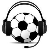 Football Soccer Podcast Vector. A football soccer wearing a headphone doing padcast in stock illustration