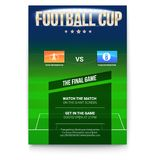 Football or soccer poster with text design. Template for game cup. Green field with flags of participating teams. Sport Stock Photo