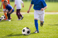 Football soccer practice training match for children. Sport educ. Ation for kids Royalty Free Stock Photos