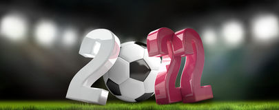 2022 football soccer qatar colorful 3d render. Illustration Stock Images
