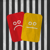 Football soccer red yellow cards Stock Images