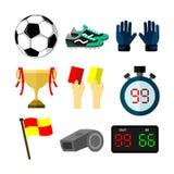 Football Soccer Related Objects Sport Illustration Set stock illustration