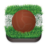 Football / Soccer Retro Ball On Grass With White Line. Sport Icon. Royalty Free Stock Images