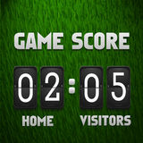 Football soccer scoreboard on grass background. Sport template. Vector illustration Royalty Free Stock Photo