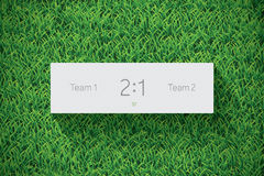 Football / Soccer Scoreboard On Grass. Realistic Vector Royalty Free Stock Images