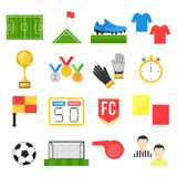 Football soccer sign set. Vector illustration flat style isolated icons on white background Stock Photography