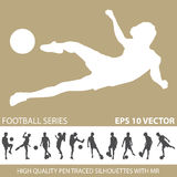 Football soccer silhouettes Royalty Free Stock Images