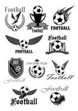 Football or soccer sport club isolated symbol set. Football or soccer sport club symbol set. Football or soccer ball, gate, boots and champion trophy cup with Royalty Free Stock Photos