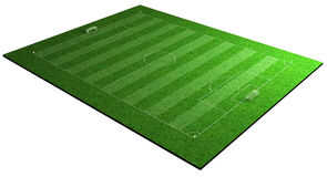 Football soccer sport playing field. Grassy green football soccer sport field 120x90m 3d illustration Stock Photo