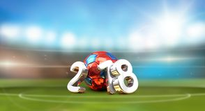 Football soccer stadium 2018 Russia ball. Russian colored soccer. Football ball 3d rendering illustration Stock Image