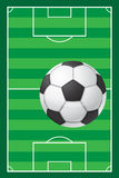 Football soccer stadiun field and ball Royalty Free Stock Photo