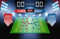 Football Or Soccer Starting Lineup Jersey Uniforms And Digital Timing Scoreboard Match Vs Strategy Broadcast
