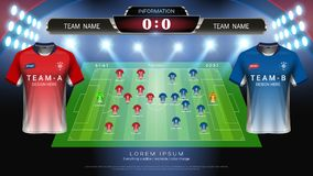 Football or soccer starting lineup, Jersey uniforms and scoreboard match vs strategy broadcast graphic template for presentation s stock illustration