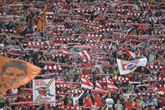 Football or soccer supporters. Pictured during the Romanian football derby between Dinamo Bucharest and Steaua Bucharest Royalty Free Stock Photography