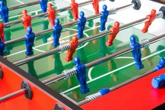 Football soccer table. With blue team and red team Stock Photo