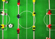 Football soccer table game. Team building play stock photo