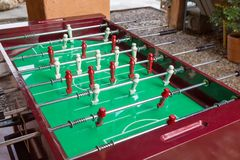 Football table game. Football or soccer table game with wooden color white and black Royalty Free Stock Photos