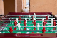 Football table game. Football or soccer table game with wooden color white and black Royalty Free Stock Photography