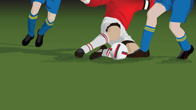 Football, soccer tackle close up Stock Images