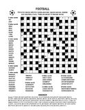 Football soccer criss-cross or fill-in crossword puzzle. Football soccer themed 19x19 criss-cross kriss-kross, fill in the blanks crossword puzzle or word game Stock Photography