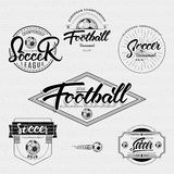 Football, Soccer tournament, championship, league Hand lettering badges labels can be used for design, presentations Stock Image