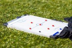Football Soccer training tactic board. Football Soccer training tactic strategy board Royalty Free Stock Photo