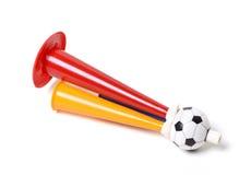 Football soccer triple fan trumpet. On white Stock Photo