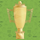Football soccer trophy. Gold football soccer trophy on green seamless football pattern Stock Image