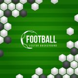 Football soccer vector background with white and black abstract texture ball and green football filed background vector design Royalty Free Stock Photography