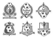 Football or soccer vintage vector labels, logos, emblems Stock Image