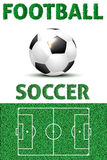 FOOTBALL and SOCCER words from  grass, ball and playground Royalty Free Stock Photography
