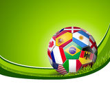 Football soccer with world teams flags Stock Photos
