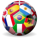 Football soccer with world teams flags brazil Stock Image