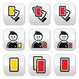 Football or soccer yellow and red card icons set Stock Photography
